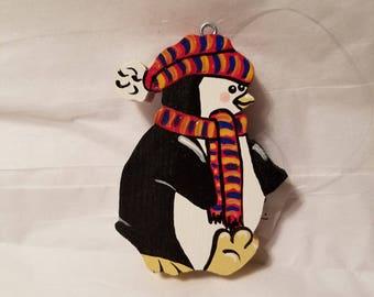 Wooden cute penguin christmas ornament