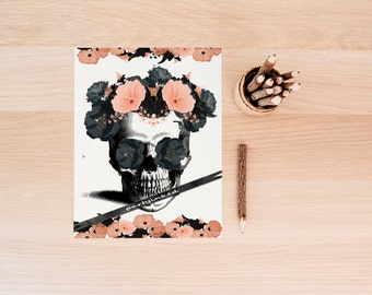 Skull Print, Skull Printable, Sugar Skull Print, Skull Flowers, Sugar Skull Flower, Vintage Print, Download, Skeleton Poster, Printable Art,