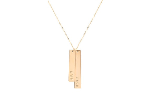 Gold Vertical Bar Necklace / Vertical Nameplate Necklace / Vertical Name Necklace by Etsy