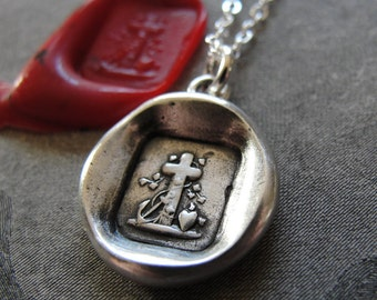 Faith Hope Love Wax Seal Necklace - antique wax seal jewelry charm Heart Cross Anchor by RQP Studio