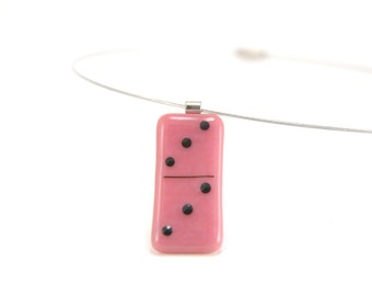Domino necklace, pink and black fused glass, game piece contemporary jewelry, 3 | 3 dominoe minimalist necklace