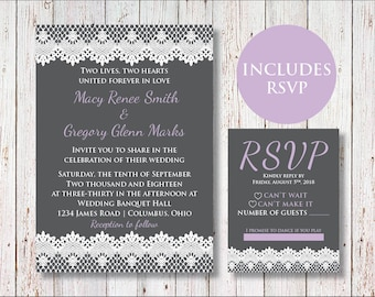 Lace Wedding Invitations and RSVP