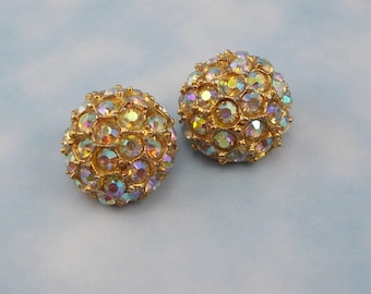 Two Large Mid Century AB Rhinestone Covered Buttons  6262