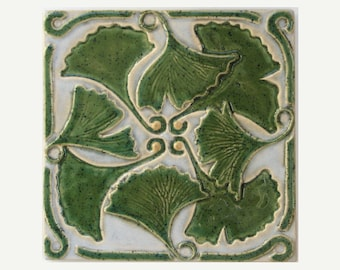 Ginkgo Leaves Arts and Crafts MUD Pi Decorative Handmade 6x6 Ceramic Tile