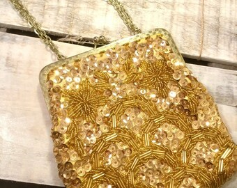 Vintage 60s Styled by Bounty Silk Gold Beaded Sequined Chain Evening Purse
