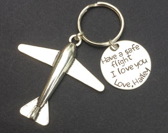 Have a safe flight Keychain, Pilot Gift, Airplane Keychain, Airplane, Traveling Keychain, Gift for Flight Attendant, Travel gift