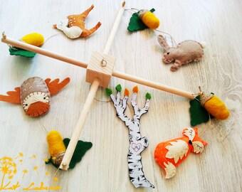 Birch Tree Mobile, Woodland Baby Mobile, Hanging Mobile , Crib Mobile, Fox Owl Rabbit Acorn Deer Mobile, Hand Embroidered Baby Mobile
