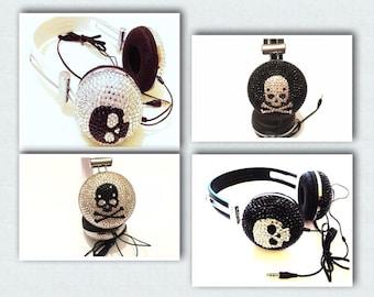 Special sale  designer iridescent skull & bones crystals ear-cup headphone