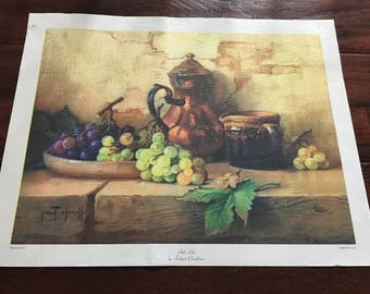 Vintage Lithograph/Still Life/Robert Chailloux/Made in USA/On Canvas
