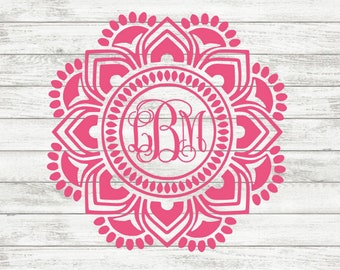 Mandala Monogram Decal | Mandala Decal | iPhone Decal | Laptop Decal | Car Decal