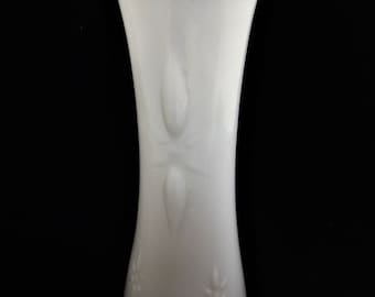 Vintage E O Brody Co. Art Nouveau Milk Glass Vase with Starburst Design and Scalloped Lip