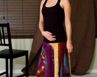 Tie Dye Hankie Hem Skirt in Brown, Gold, Purple and Green