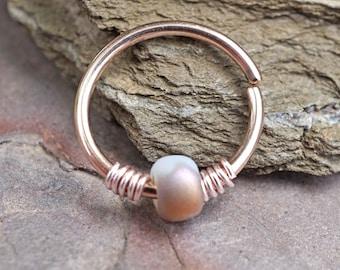 Bronze and White 16g 18g 20g Rose Gold Hoop Beaded Hoop Earring Nose Hoop Helix Cartilage Hoop Tragus Hoop