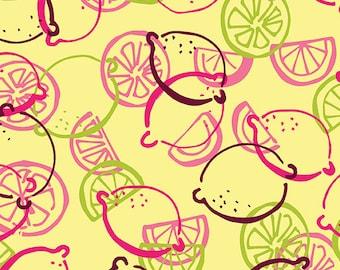 Fabric - Lemon Toss Lemonade, Fabric by the Yard, Cotton Fabric, Quilting Fabric, Fat Quarter, Lemon Fabric, Pattern Fabric, Lemon Squeezy