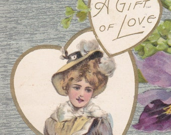 """Ca. 1908 """"Lady & Orchids"""" Valentine Greetings Postcard - 600"""