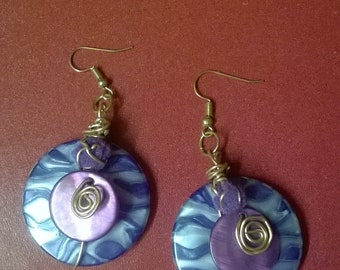 purple leopard print disc wire wrapped earrings