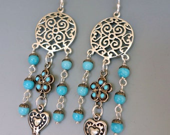Petit Point Turquoise Sterling Earrings