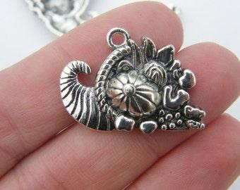 4 Cornucopia pendants  tibetan silver FD335