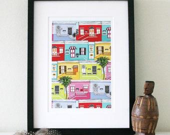 Cape Town Bo-Kaap colourful houses A4 art print