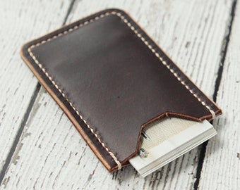 Leather Business Card Holder - Dark Mahogany Brown