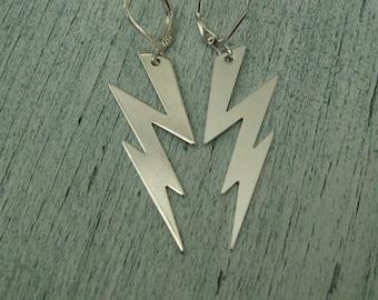 Silver Lightning Bolt Earrings lightning bolts zig zag thunderbolt earrings thunder storm weather earrings Vintage earrings