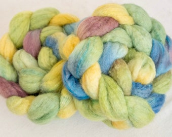 Hand dyed wool top, Tussah silk, Bluefaced Leicester, Hand dyed roving, spinning wool,fibre, handspinning, felting projects, felting