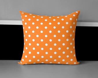 Orange White Polka Dot Pillow Cover