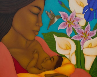 Breastfeeding Nursing Mother and Child Folk Art Print - Midwifery Doula Portrait Painting by Tamara Adams