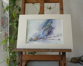 Original watercolor: Dragonfly