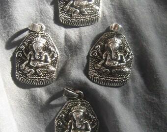 Wholesale  Lot  Of  4  -25mm Detailed  Steel  Ganesh  Pendants
