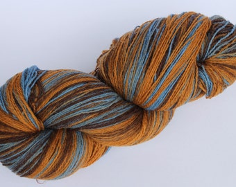 KAUNI Estonian Artistic Yarn Brown Blue 8/2, Art Wool Yarn for Knitting, Crochet