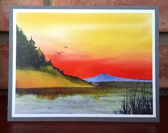 Hillside Sunset - Greeting Card, A2, Blank or Choice of Text, Handmade, Print of Original Watercolor Painting