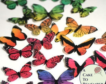 Rainbow cake topper edible butterflies, 30 ombre wafer paper butterflies.  Butterfly cakes birthday decoration, ombre cake ideas.