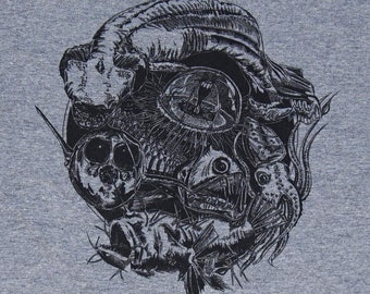 Deep Sea Revealed Illustrated, Hand-Printed American Apparel Tri-Blend T-Shirt
