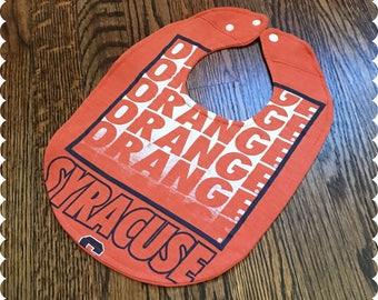 Syracuse Orange Baby Bib, Recycled T-Shirt Baby Bib, Syracuse New York, Sports Baby, Gender Neutral Baby Shower Gift
