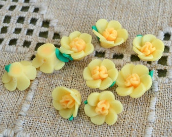 6pcs Polymer Clay Polyclay Bead Flower 15mm Yellow Rose