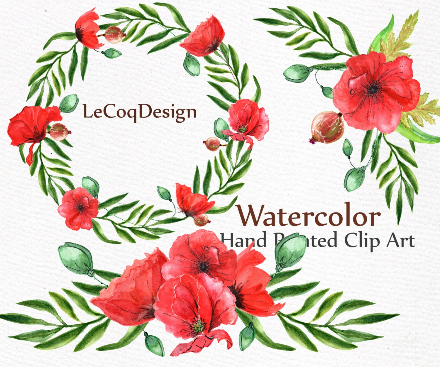 Red Poppies Wreath clipart: \