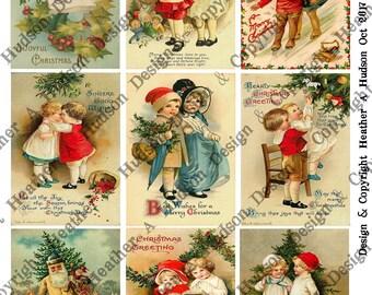 Vintage Christmas Children un altered  4 Sheets 9 images ATC  Large Focals Tiny DIY Printable Digital Collage Sheet Victorian