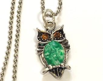 Green Polymer Clay Owl Charm Necklace, Owl Bead Necklace, Owl Jewelry