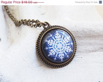 Snowflake Necklace Snowflake Pendant Navy Blue White Snowflake Necklace Holiday Jewelry Gift For Her