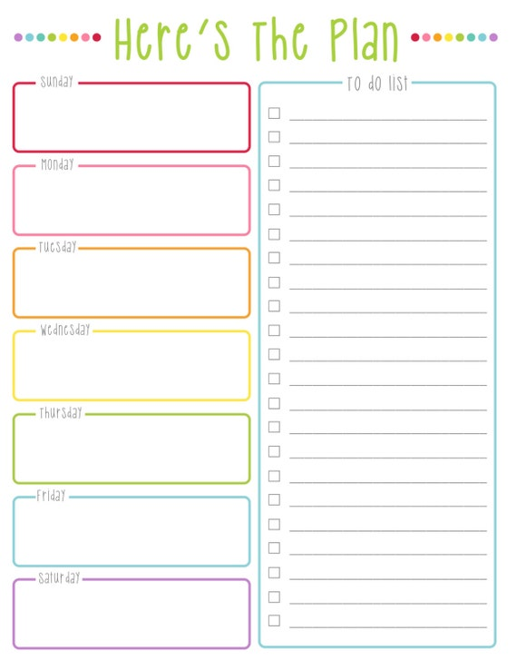 Here S The Plan Weekly To Do List Colorful Dots
