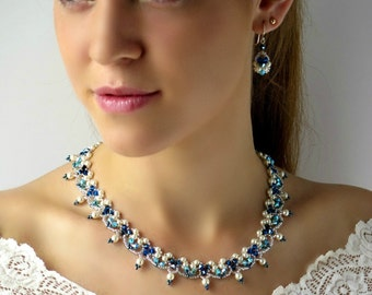 Blue wedding jewelry, Pearl statement bridal necklace, Mother of the bride jewelry set, Pearl & crystal necklace, Unique necklaces for women