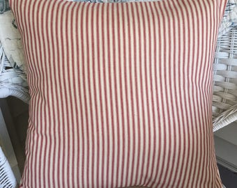 Red ticking pillow. Farmhouse pillow, Throw pillow cover. French country, shabby cottage chic, country cottage, Christmas pillow.