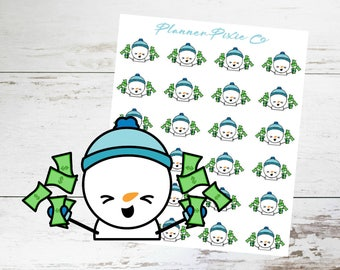Snowman Planner Stickers // Pay Day // 008