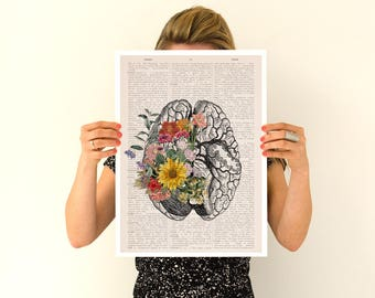 Springtime brain, Colorful flowers from Brain Poster, anatomical art, Brain art,flower art, Human poster doctor SKA140PA3