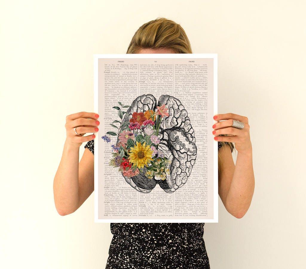Springtime brain, anatomy art, anatomy Giclee poster, brain art ...