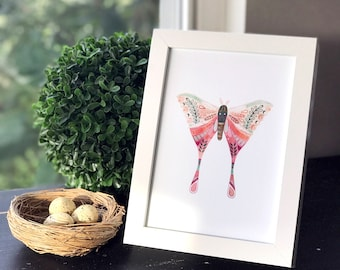 Moth 1 - Art Print, Original Illustration - Limited Edition Giclee Print (5 x 7in)