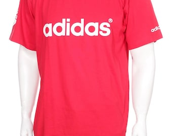 Vintage 90s Adidas  Tshirt  Big Logo Spell out Red/white  Size L