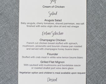Modern Black and White Dinner Menu, Casual Reception Menu, Wedding Reception Menu, Simple Menu - Dana and Christopher