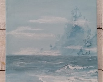 "Misty Water, original acrylic painting, 11""x14"""